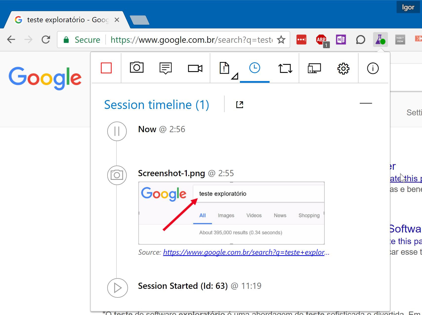 Extensão Test & Feedback para o Google Chrome. Com ela é possível executar testes exploratórios diretamente no browser