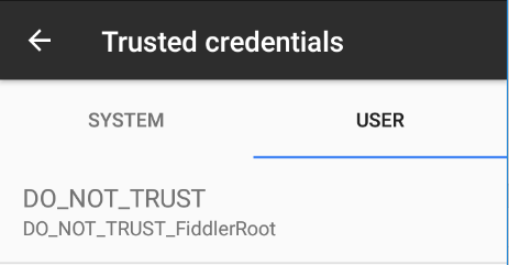 Android certificados de usuário