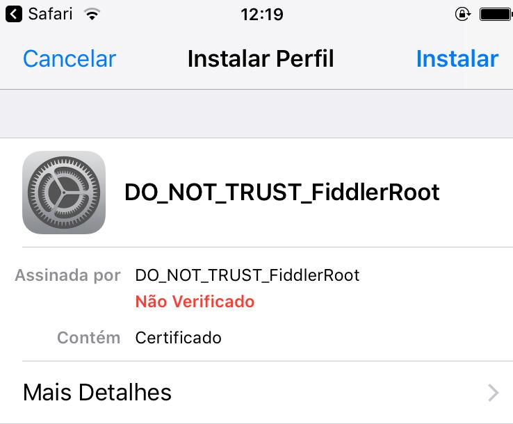iphone instalação de perfil
