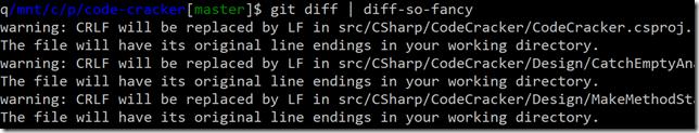 git diff mostrando warnings de CRLF