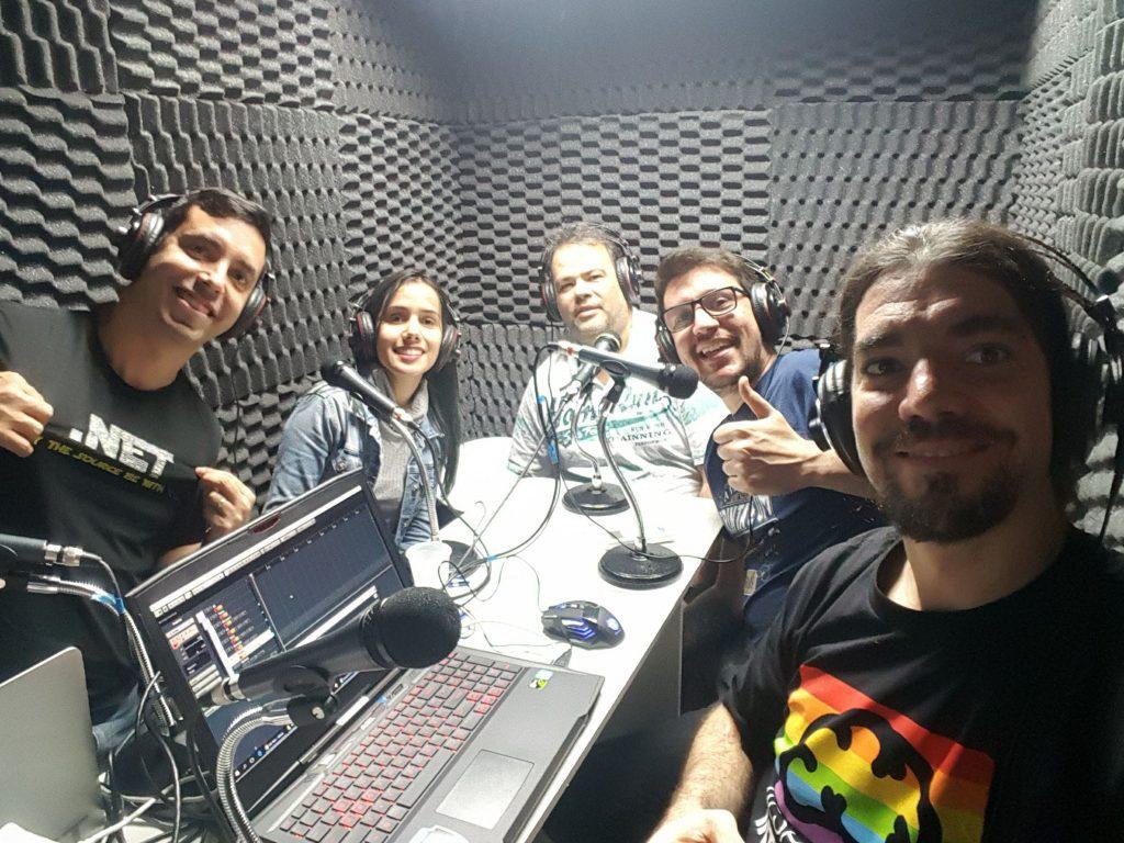Participantes gravando o podcast de Star Wars