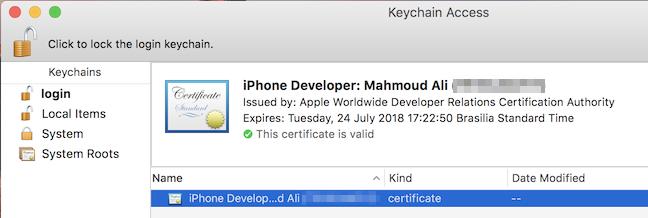 certificado keychain