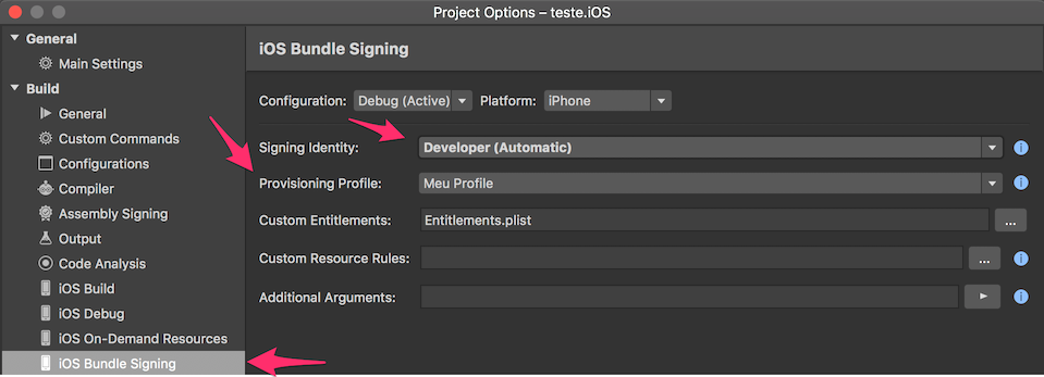visual studio for mac provisioning profile