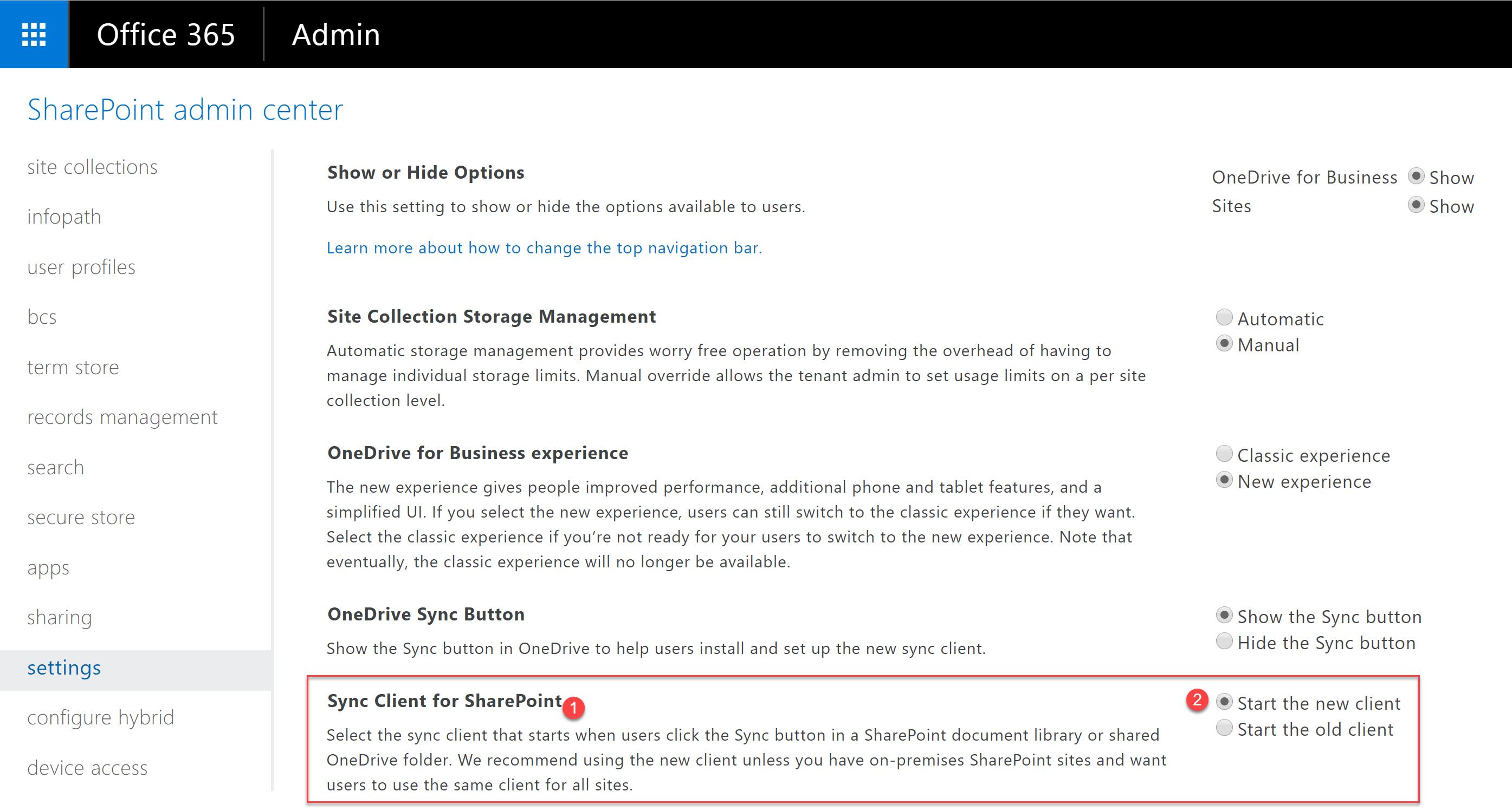 """Localize a seção """"Sync Client for SharePoint"""" (1) e então marque a opção """"Start the new client"""""""
