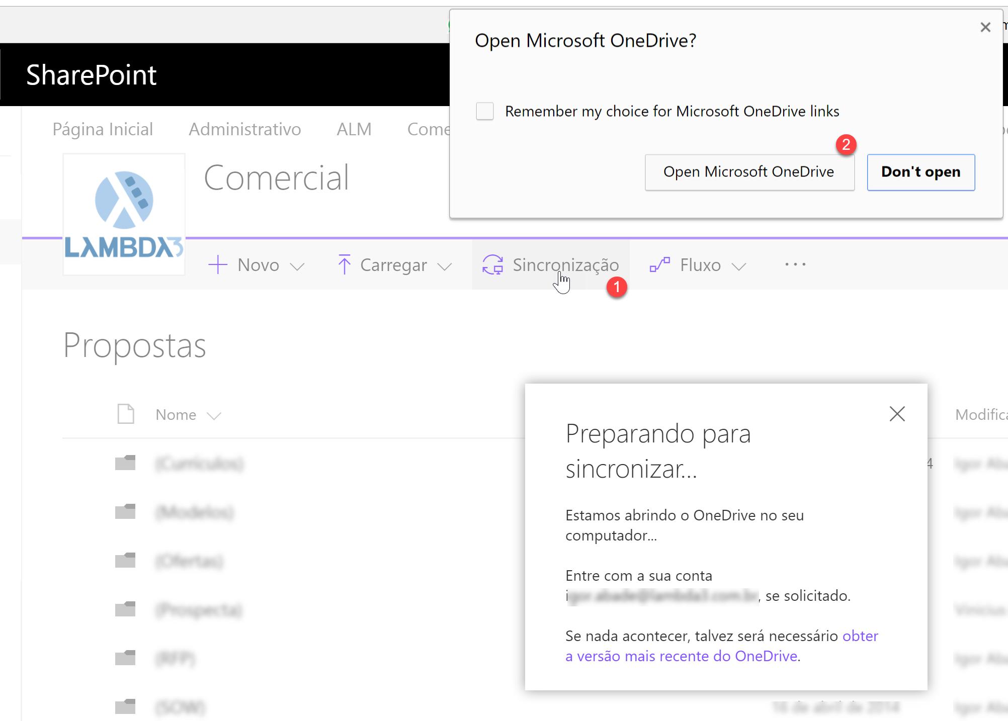 Ao clicar no botão Sincronização de uma biblioteca do SharePoint (1), o cliente usado será o Novo OneDrive (2)