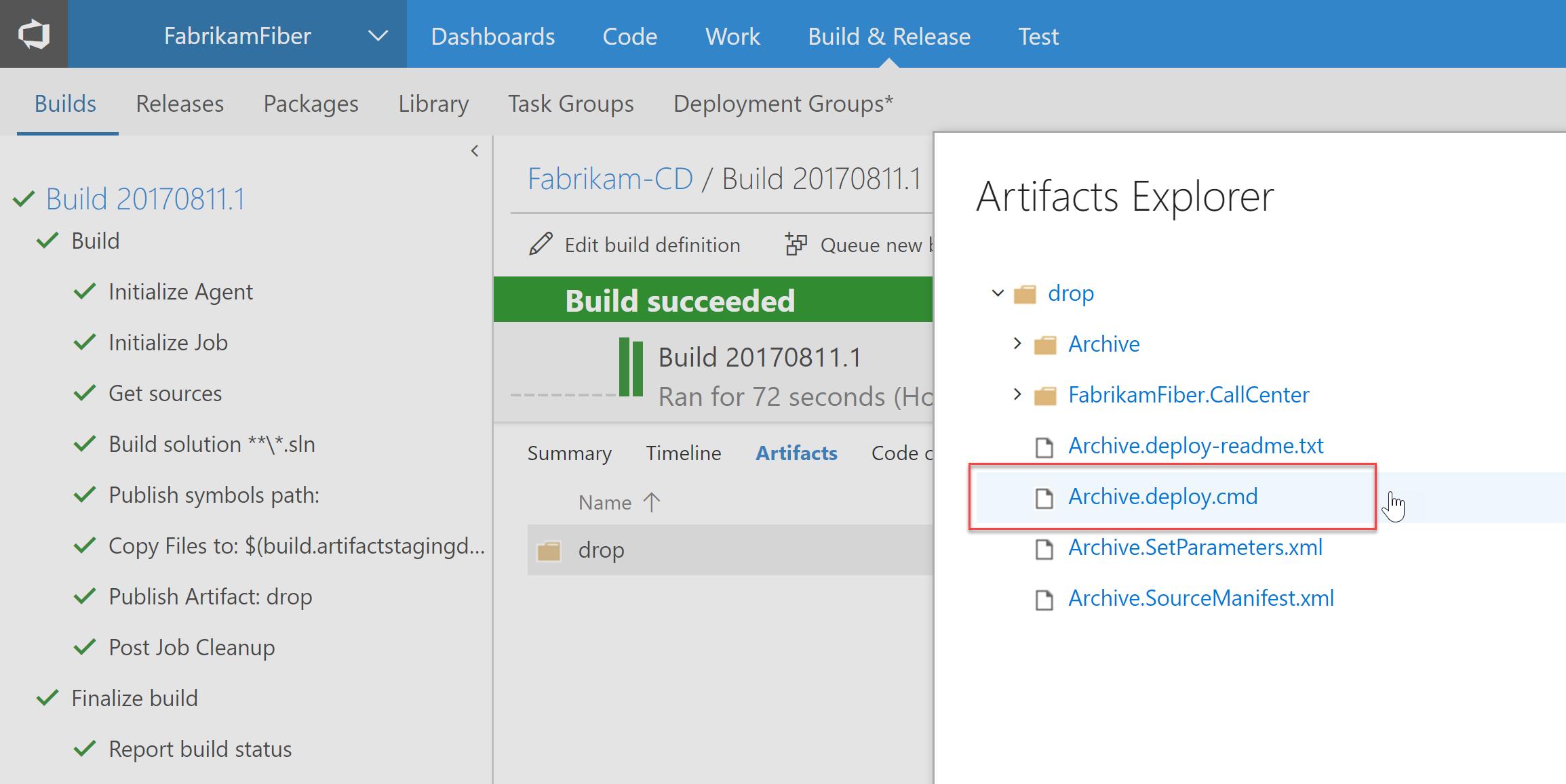 """Build de uma aplicação ASP.NET, com os arquivos de publicação do Web Deploy (em destaque, o script de implantação com a extensão """".deploy.cmd"""", gerado automaticamente)"""
