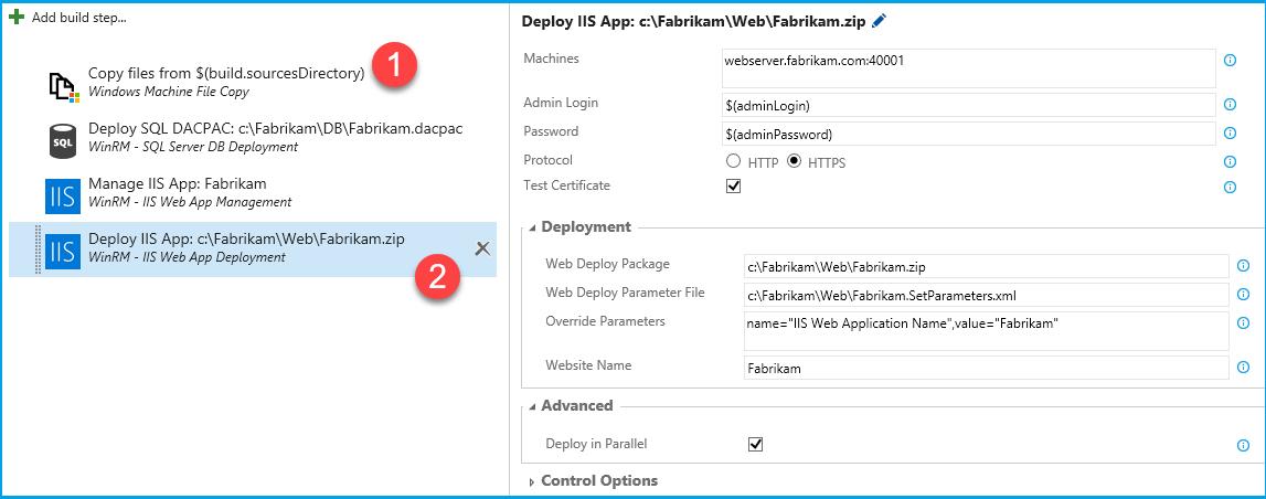 Extensão de deployment via WinRM. Note que é preciso primeiramente usar uma task de cópia de arquivos (1) para transferir o conteúdo do web site para um diretório temporário no servidor remoto antes de fazer a instalação propriamente dita no IIS (2)