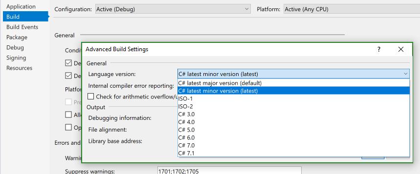 Janela de diálogo mostrando as opção de versão do C#