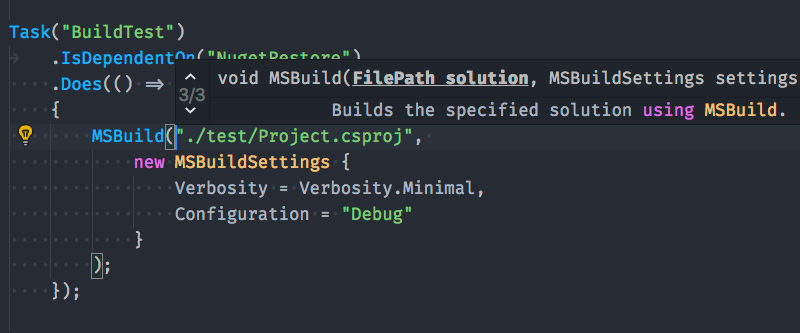 Habilitando Intellisense para Cake no Visual Studio Code e outros editores