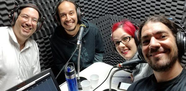 Marcio, Cristiano, Erica e Giovanni dentro do estúdio