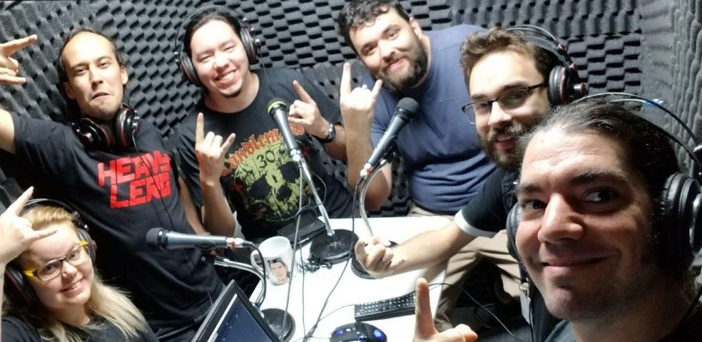 Thuany, Cristiano, Eduardo, Bruno, Igor e Giovanni na gravação do podcast