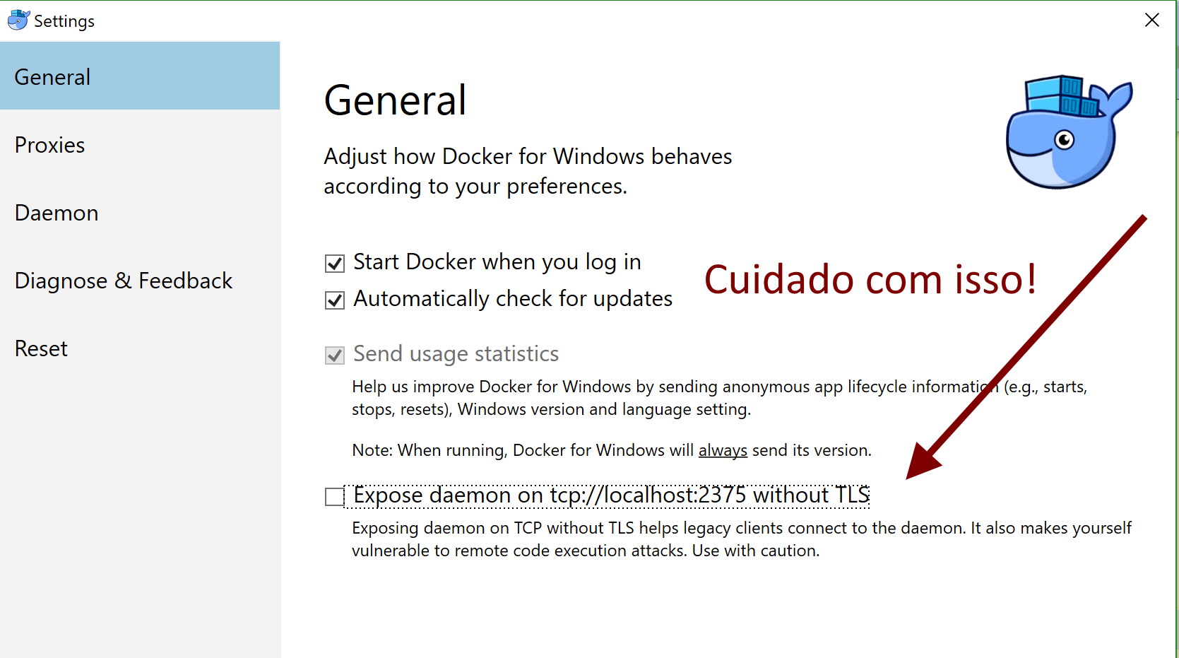 Abrindo a porta 2375 sem TLS do Docker