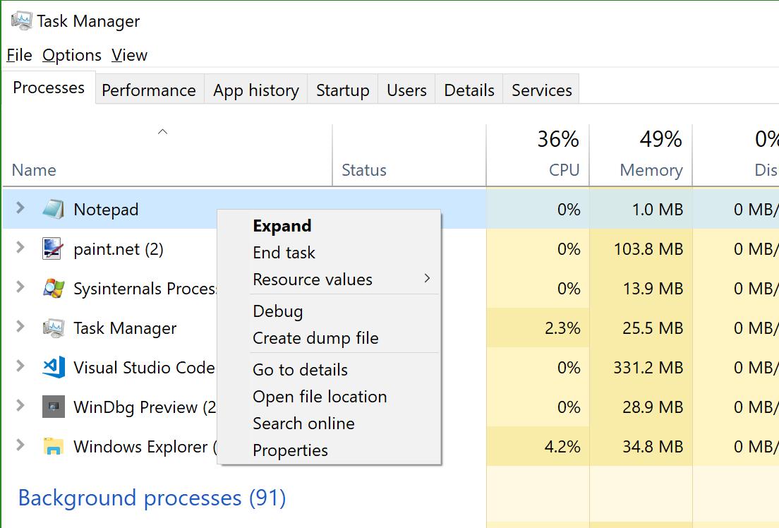 Gestor de processos com o menu de contexto aberto sobre um processo com a opção de criar o arquivo de dump