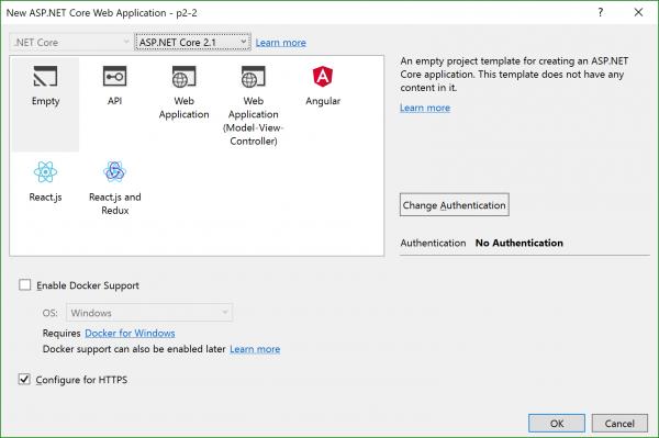 Tela do VS de criação do projeto com versão 2.1 selecionada