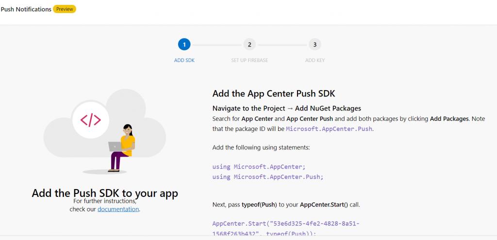 pagina push app center