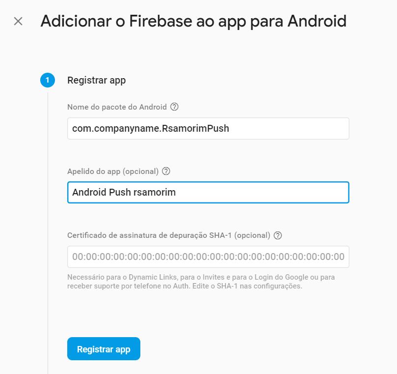 configurando app no firebase