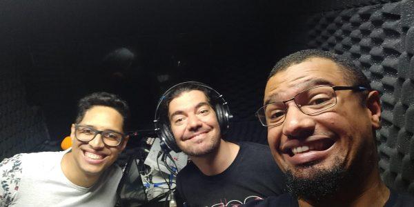 Fabio, Giovanni e Lucas no estúdio