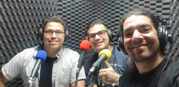 Bruno, Ricardo e Giovanni no estúdio