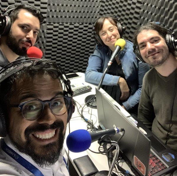 Victor Hugo Germano, Victor Cavalcante, Patricia Kost e Giovanni Bassi no estudio