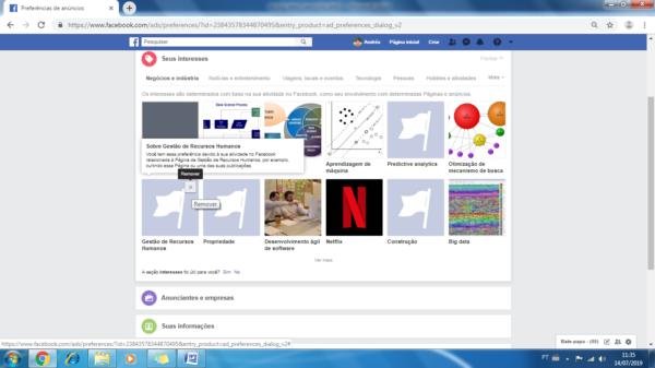 Eliminando interesses no Facebook