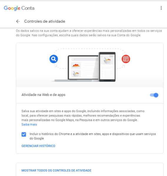Pesquisando as informações que o Google tem sobre você