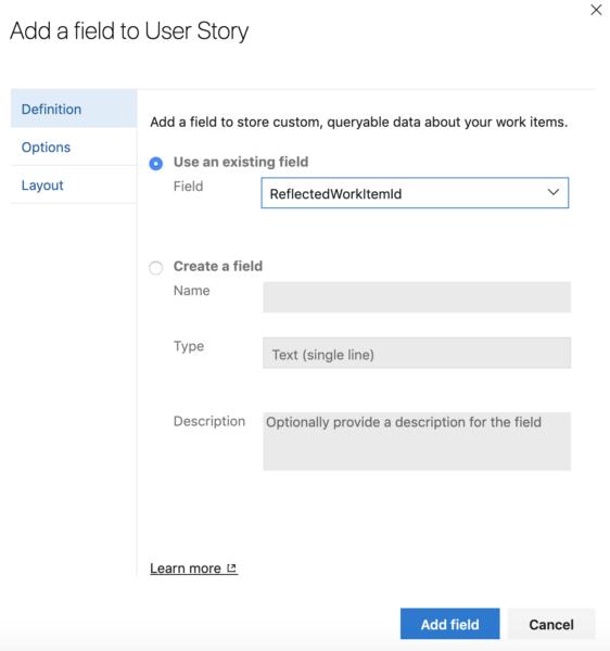 adicionar campo em user story