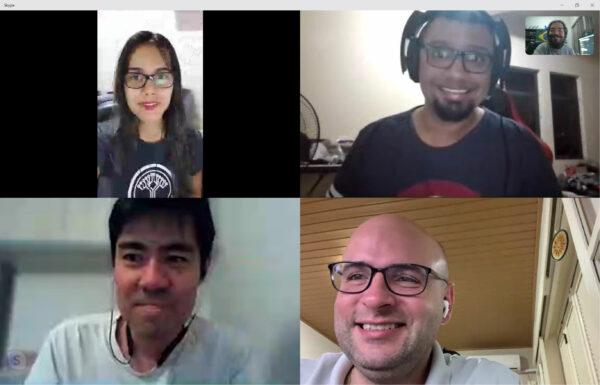 Grazi, Lucas, Koji, Elemar e Giovanni no Skype!